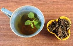 Высушенный и свежий бальзам лимона, чашка травяного напитка стоковая фотография