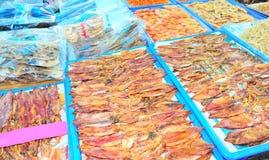 высушенный кальмар рынка Стоковое Фото