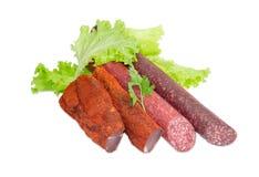 Высушенный tenderloin свинины и 2 различных разнообразия сосисок Стоковые Фото