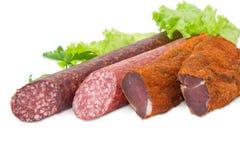 Высушенный tenderloin свинины и 2 различных разнообразия cl сосисок Стоковое Фото