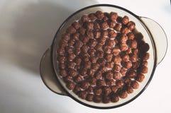 Высушите здоровые завтраки шоколада в форме шариков в плите стоковая фотография