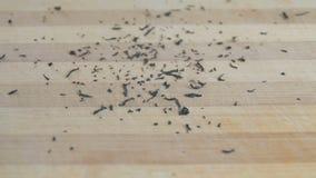 Высушите листья черного чая падая на деревянную поверхность сток-видео