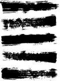 Высушите ходы щетки с широкой щеткой Ход Grunge черный сухой Стоковые Изображения