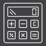 Высчитайте линию значок, дело и калькулятор иллюстрация вектора