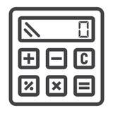 Высчитайте линию значок, дело и калькулятор бесплатная иллюстрация