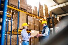 Высшие руководители или заведущие работая совместно в складе Стоковое фото RF