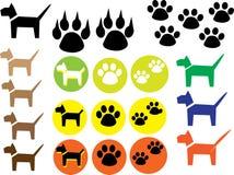 Выследите собаку значка, установленные значки печатей лапки Стоковое Изображение