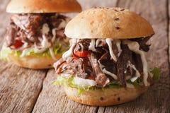 Вытягиванный сандвич свинины с овощами и концом-вверх соуса горизонт стоковое фото rf