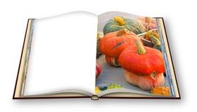 Выучите сварить с тыквами поваренная книга - 3D представьте изображение концепции раскрытой книги фото изолированной на белой пре стоковая фотография