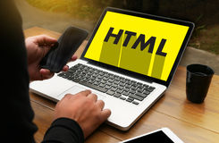 Выучите HTML, развитие сети и веб-дизайн, ультрамодную длинную тень Стоковое Изображение RF