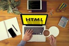 Выучите HTML, развитие сети и веб-дизайн, ультрамодную длинную тень Стоковые Изображения RF