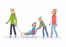 Выходные семьи - иллюстрация характеров людей шаржа бесплатная иллюстрация
