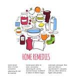 Выходы дома иллюстрации вектора с объектами doodle Стоковые Изображения RF