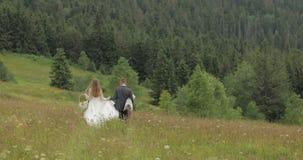 Выхольте с невестой пойдите для пикника на холмах горы r r акции видеоматериалы