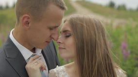 Выхольте с невестой совместно на glade цветков r E сток-видео