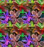 выходит тропическими Безшовная предпосылка Стоковое Изображение
