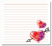 вычерченная белизна бумаги примечания сердец руки Стоковые Фото