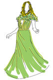 Вычерченная женщина в зеленом платье Стоковые Изображения