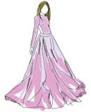 Вычерченная женщина в розовом платье Стоковые Изображения RF
