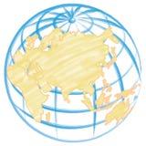 вычерченная иллюстрация руки глобуса Стоковые Изображения RF