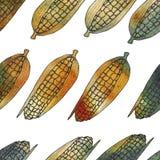 вычерченная картина руки безшовная Предпосылка сбора осени corns W Стоковые Фото