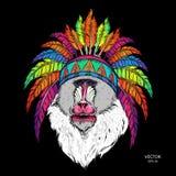 Вычерченная обезьяна Mandrill в вожде коренного американца индийском Красная и черная плотва Индийский головной убор пера орла Il Стоковые Фотографии RF