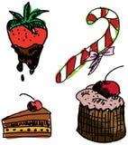 Вычерченная покрашенная сладостная еда Стоковое Фото