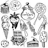 Вычерченная сладостная еда Стоковое Изображение