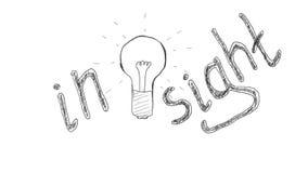 Вычерченная электрическая лампочка символизируя появление идей, проницательность иллюстрация вектора