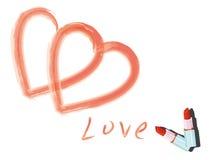 вычерченное слово влюбленности губной помады Стоковая Фотография