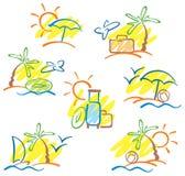 вычерченное солнце чайок моря ладоней руки Стоковое Изображение RF
