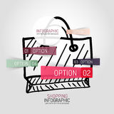 Вычерченные дизайн и infographics хозяйственной сумки Стоковое Изображение RF