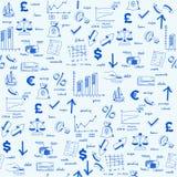вычерченные иконы руки финансов безшовные иллюстрация штока