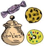 Вычерченные покрашенные печенья Стоковая Фотография