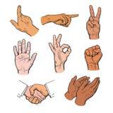 Вычерченные руки Комплект рук и пальцев бесплатная иллюстрация
