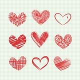 вычерченные сердца руки Стоковые Изображения RF
