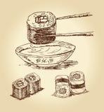 вычерченные суши руки иллюстрация штока