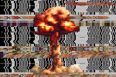 Вычерченный взрыв придает квадратную форму пикселам сломленная предпосылка вектора число стоковая фотография rf