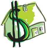 Вычерченный зеленый дом Стоковые Изображения