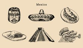Вычерченный комплект известных мексиканских привлекательностей Иллюстрация вектора визирований Olmec и ацтека Латино-американские иллюстрация вектора