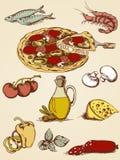 вычерченный комплект пиццы руки Стоковая Фотография
