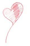 вычерченный красный цвет сердца Стоковые Фотографии RF