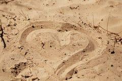 вычерченный песок сердца Стоковые Изображения