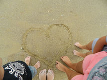 вычерченный песок сердца Стоковое фото RF