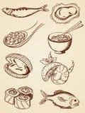 вычерченный сбор винограда продуктов моря руки Стоковые Фото