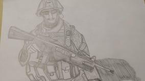 Вычерченный солдат Стоковые Фото