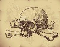 вычерченный череп руки Стоковое Фото