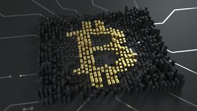 Вычисление минирования хэша и bitcoin Знак валюты bitcoins освещает вверх, производящ развевает вокруг Loopable бесплатная иллюстрация