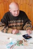 Вычисление финансовых расходов пенсионером на экономике электричества стоковая фотография rf
