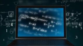 Вычислительная сила компьютера Вычисление сложных математических да иллюстрация вектора